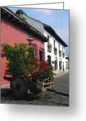 Streets Digital Art Greeting Cards - Flower Wagon Antigua Guatemala Greeting Card by Kurt Van Wagner