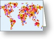 Canvas Greeting Cards - Flower World Map Greeting Card by Michael Tompsett