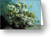Flowers Flowers And Flowers Greeting Cards - Flowering Branches and Flowers Greeting Card by Gustave Courbet