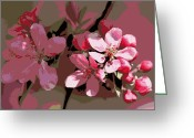 Beauty Mark Greeting Cards - Flowering Crabapple Posterized Greeting Card by Mark J Seefeldt