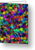 Blue Flowers Digital Art Greeting Cards - Flowers Abstract Greeting Card by Svetlana Sewell