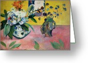 Gauguin; Paul (1848-1903) Greeting Cards - Flowers and a Japanese Print Greeting Card by Paul Gauguin