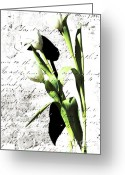 Live Art Mixed Media Greeting Cards - Flowers and Love Letters Greeting Card by Anahi DeCanio