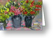 Jugs Greeting Cards - Flowers and Pitchers Greeting Card by David Lloyd Glover