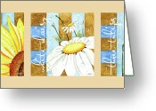 Floral  Greeting Cards - Flowers and Stripes Greeting Card by Ann Troe