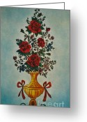 Flowers Glass Art Greeting Cards - Flowers Greeting Card by Betta Artusi