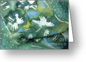 Cool Tapestries - Textiles Greeting Cards - Flowers floating on the water Greeting Card by Joanna White