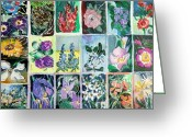 Fine Art Watercolor Drawings Greeting Cards - Flowers Flowers Flowers Greeting Card by Mindy Newman