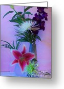 Purple Gladiola Greeting Cards - Flowers From My Daughter Greeting Card by Marsha Heiken
