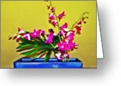 Fairmount Park Greeting Cards - Flowers in a Blue Dish - Japanese House Greeting Card by Bill Cannon
