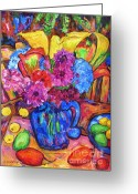 Guava Greeting Cards - Flowers In A Blue Jug Greeting Card by Dianne  Connolly