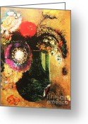 Redon Greeting Cards - Flowers In a Green Vase Greeting Card by Pg Reproductions