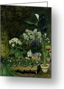 Pierre Auguste (1841-1919) Greeting Cards - Flowers in a Greenhouse Greeting Card by Pierre Auguste Renoir