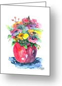 Bouquets Greeting Cards - Flowers In A Pink Vase Greeting Card by Arline Wagner