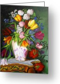 Cuban Painter Greeting Cards - Flowers in a Vase Greeting Card by Dominica Alcantara