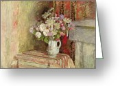 Signed Greeting Cards - Flowers in a Vase Greeting Card by Edouard Vuillard