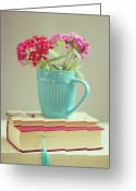 Cup Photo Greeting Cards - Flowers In Blue Cup On Two Books Greeting Card by Copyright Anna Nemoy(Xaomena)
