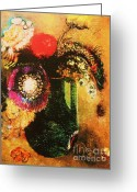 Redon Greeting Cards - Flowers In Green Vase With Handles Greeting Card by Pg Reproductions