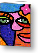 Abstract Bright Color Greeting Cards - Flowers in Her Hair Greeting Card by Steven Scott