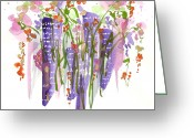 City Scene Drawings Greeting Cards - Flowers In The City Greeting Card by Darlene Flood