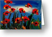 Black And White Photos Painting Greeting Cards - Flowers On Sky Greeting Card by Mark Kazav