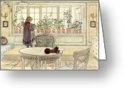 Paper Painting Greeting Cards - Flowers on the Windowsill Greeting Card by Carl Larsson