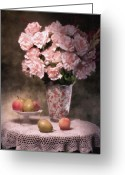 Peaches Greeting Cards - Flowers With Fruit Still Life Greeting Card by Tom Mc Nemar