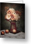 Peaches Greeting Cards - Flowers with Peaches Still Life Greeting Card by Tom Mc Nemar