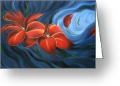 Flower Photographs Painting Greeting Cards - Flowing Flowers 4 Greeting Card by Uma Devi