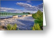 Restful Greeting Cards - Flowing River And Bridge Greeting Card by Connie Cooper-Edwards