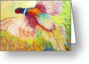 Birds  Greeting Cards - Flushed - Pheasant Greeting Card by Marion Rose