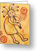 Santa Fe Greeting Cards - Flute Player Kokopelli Greeting Card by Carol Suzanne Niebuhr