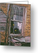 Egg Tempera Painting Greeting Cards - Fluttering at the Window Greeting Card by Peter Muzyka