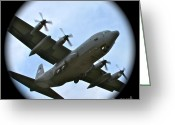 C130 Greeting Cards - Fly By Greeting Card by Rick  Monyahan