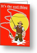 Jumping Digital Art Greeting Cards - Fly Fisherman  Greeting Card by Aloysius Patrimonio