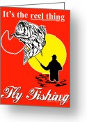 Bass Digital Art Greeting Cards - Fly Fisherman catching largemouth bass Greeting Card by Aloysius Patrimonio