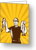 Male Greeting Cards - Fly Fisherman holding bass fish catch Greeting Card by Aloysius Patrimonio