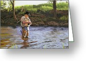 Trout Stream Greeting Cards - Fly Fisherman Greeting Card by Kenneth Young