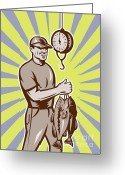 Male Greeting Cards - Fly Fisherman weighing in fish catch  Greeting Card by Aloysius Patrimonio