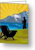 Jumping Digital Art Greeting Cards - Fly Fishing Greeting Card by Aloysius Patrimonio