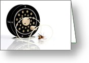 Fun Greeting Cards - Fly Fishing Reel with Fly Greeting Card by Tom Mc Nemar