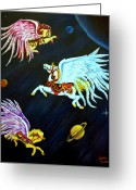 Outerspace Greeting Cards - Fly Me To The Moon Greeting Card by Dorothy  Oakman
