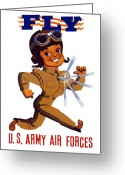 Air Digital Art Greeting Cards - FLY US Army Air Forces Greeting Card by War Is Hell Store