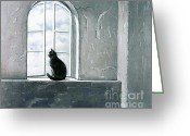Black And White Cat Greeting Cards - Fly Watching Greeting Card by Robert Foster