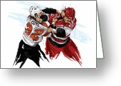 Flyers Art Greeting Cards - Flyers Enforcer Riley Cote Greeting Card by David E Wilkinson