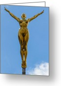 Golden Jewelry Greeting Cards - Flying Angel Greeting Card by Donald Davis