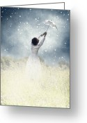 Person Greeting Cards - Flying away Greeting Card by Joana Kruse