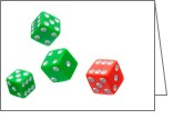 Luck Greeting Cards - Flying Craps Dice  Greeting Card by Olivier Le Queinec
