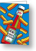 Snack Greeting Cards - Flying Fries Greeting Card by Ron Magnes