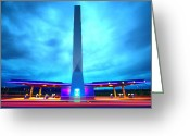 Blau Greeting Cards - Flying Fuelstation Greeting Card by Thomas Splietker